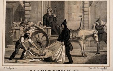 Epidemia cholery w 1835 r. w Palermo. Litografia autorstwa Gabriela Castagnoli