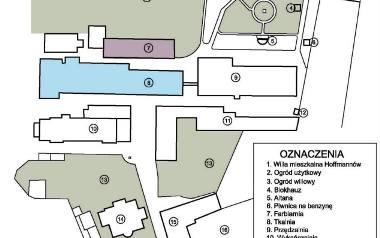 Plan Fabryki Hoffmanna na początku XX w. z zaznaczonymi istniejącymi budynkami i dawnymi ogrodami (na zielono)