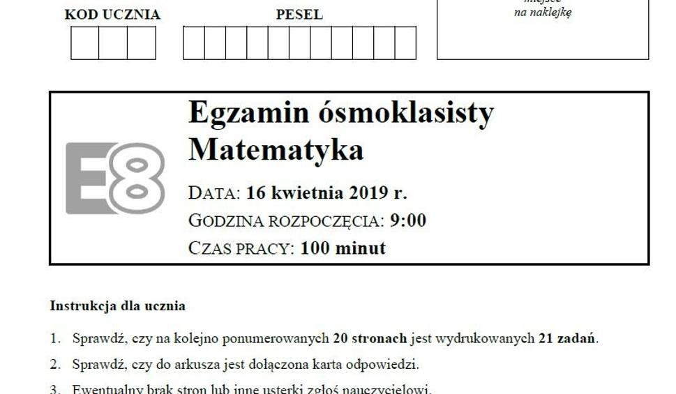 Film do artykułu: EGZAMIN ÓSMOKLASISTY 2019 MATEMATYKA ODPOWIEDZI, ROZWIĄZANIA, ARKUSZ CKE. Test 8-klasisty z matematyki 16.04.2019 [klucz odpowiedzi, arkusz]