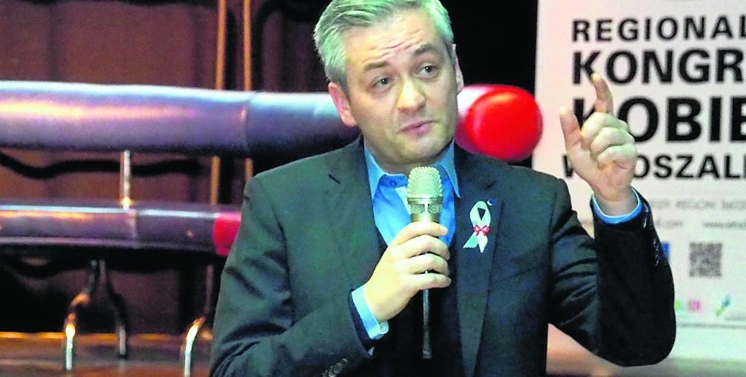 Gwiazdą - tak to trzeba nazwać - sobotniego Kongresu Kobiet w Koszalinie był prezydent Słupska Robert Biedroń