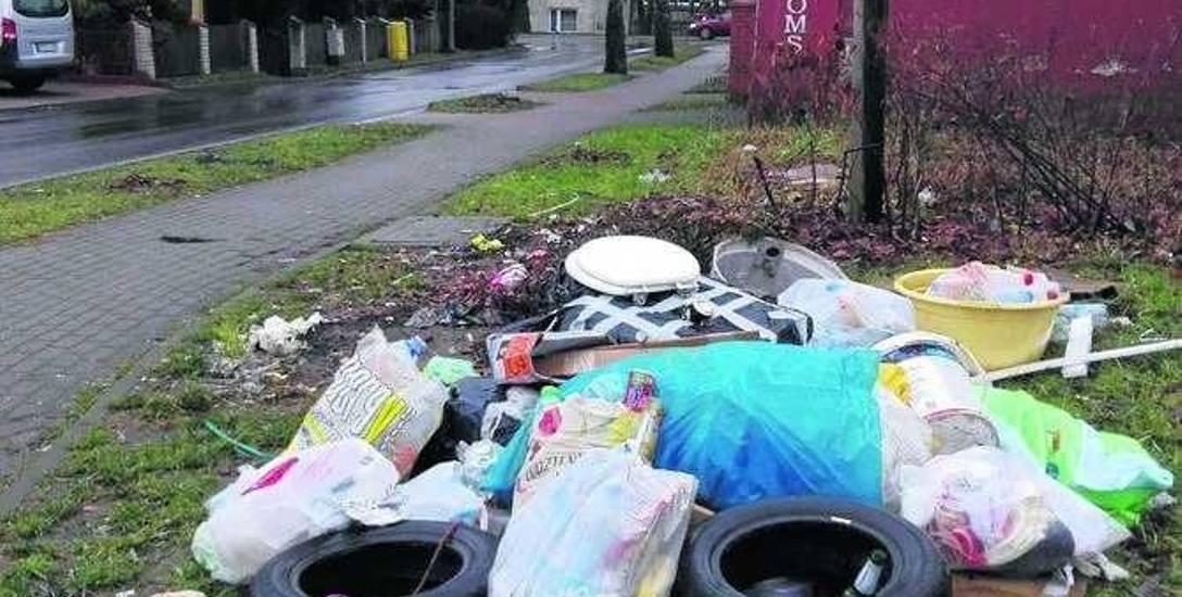 Śmieci wyrzucone kilka dni temu na ul. Wiatracznej