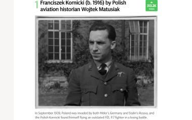 """Franciszek Kornicki w 1939 r. służył w 162. Eskadrze Myśliwskiej Armii """"Łódź"""", stacjonował na polowym lotnisku Widzew, latał na przestarzałym myśliwcu"""