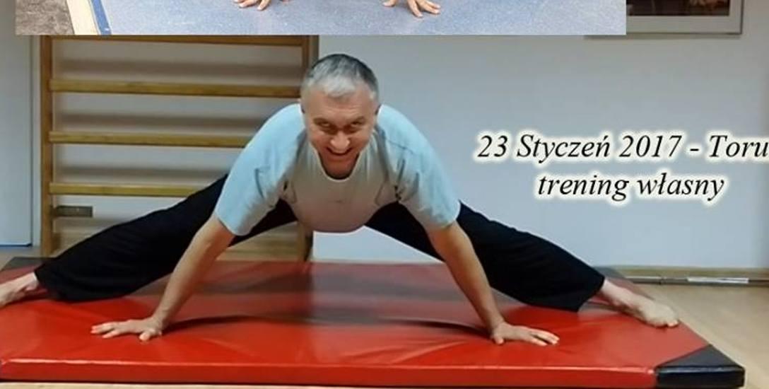 Janusz Danielczyk jest przekonany, że za jakiś czas dzięki wytrwałym ćwiczeniom uda mu się wykonać szpagat poprzeczny. Z każdym rokiem jest coraz bliżej