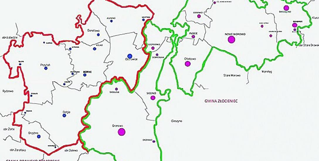 Proponowany podział gm. Ostrowice. Jej wschodnia część (kolor zielony) trafić ma do Złocieńca, zachodnia do Drawska.