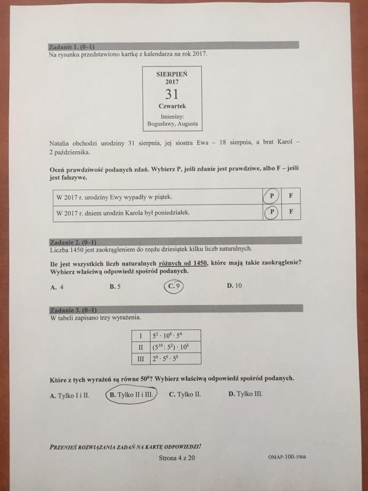 kalendarz ósmoklasisty matematyka odpowiedzi