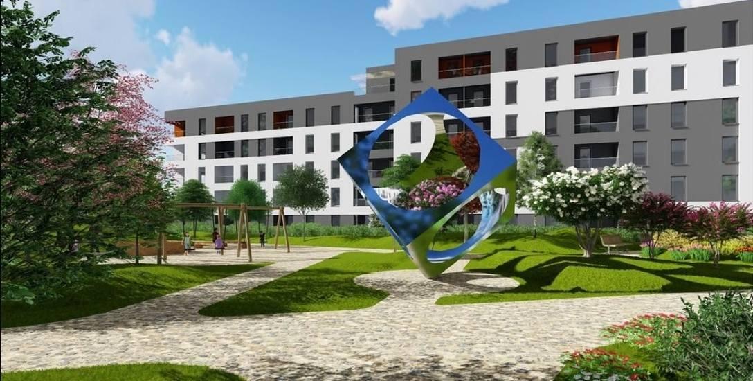 Wizualizacja nowego osiedla przy ul. Zaborowskiej. Wokół bloków powstaną tereny rekreacyjne.