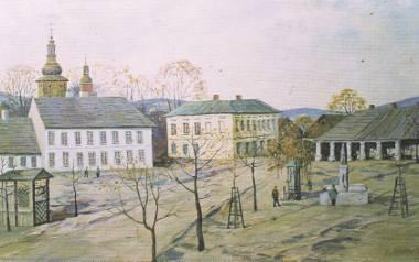 Franciszek Mrażek na swoim obrazie uwiecznił limanowski rynek z XIX wieku. To z takiej właśnie Limanowej wyruszyli na Węgry Wójcik, Miłkowski i Stan