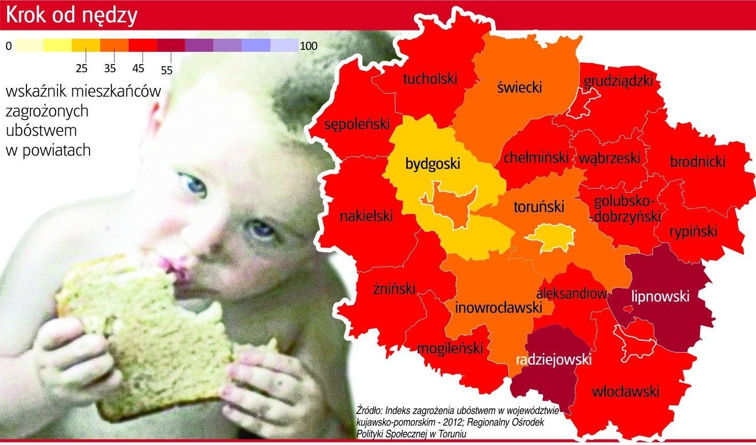 Specjaliści z Regionalnego Ośrodka Polityki Społecznej w Toruniu opracowali w zeszłym roku raport o zagrożeniu ubóstwem w regionie.