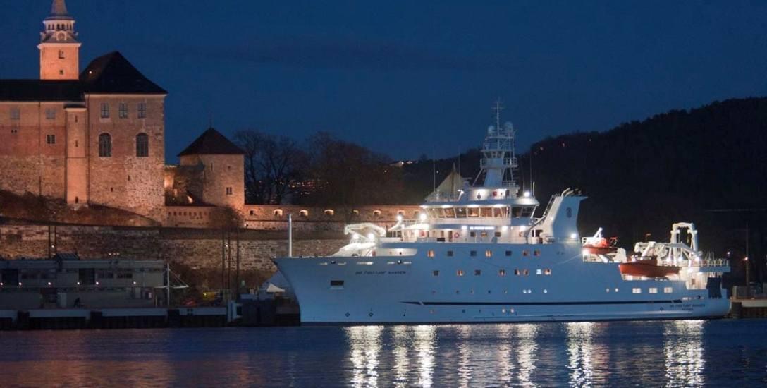 """Najnowocześniejszy statek badawczy na świecie, """"Dr. Fridtjof Nansen"""", pływający dziś pod banderą ONZ. Do potrzeb badań dna oceanicznego Polsce potrzebna"""