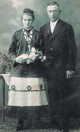 Zdjęcie ślubne z Wójtowej Wsi. 1929 rok