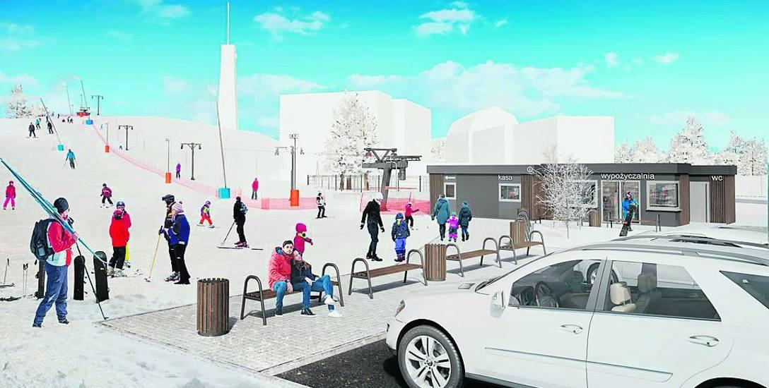 Wizualizacja wyciągu planowanego na Górce Rynkowej, ratusz i wykonawcy musieliby się mocno postarać, aby jazda na nartach była możliwa już najbliższej