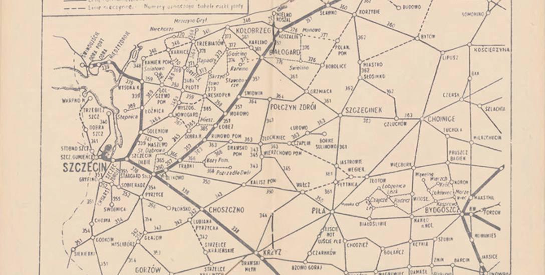 Mapa połączeń kolejowych z 1950 r. Zaznaczono na niej zarówno czynne, jak i nieczynne linie kolejowe