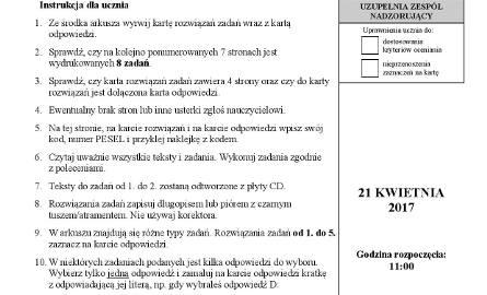 Powyżej arkusze z dzisiejszego egzaminu gimnazjalnego z angielskiego na poziomie rozszerzonym.Na kolejnych slajdach prezentujemy arkusze i odpowiedzi