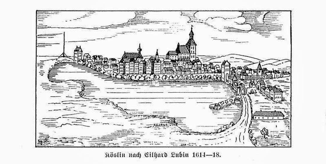 Tak wygląda jeden z najstarszych wizerunków Koszalina (został wykonany w latach 1614-18). Ten Koszalin niemal doszczętnie spłonął w 1718 roku.
