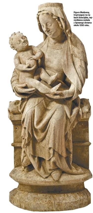 Figura Madonny, trzymającej na rękach Dzieciątko, wyrzeźbiona została z lipowego drewna około 1350 roku.