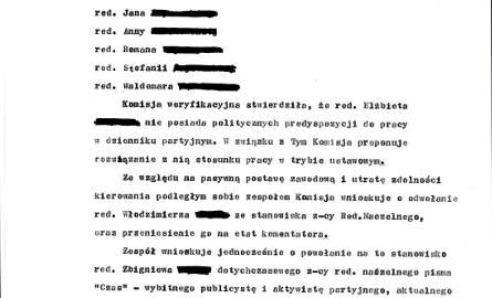 Protokół z prac komisji weryfikującej dziennikarzy w Koszalinie w stanie wojennym [fotostory]