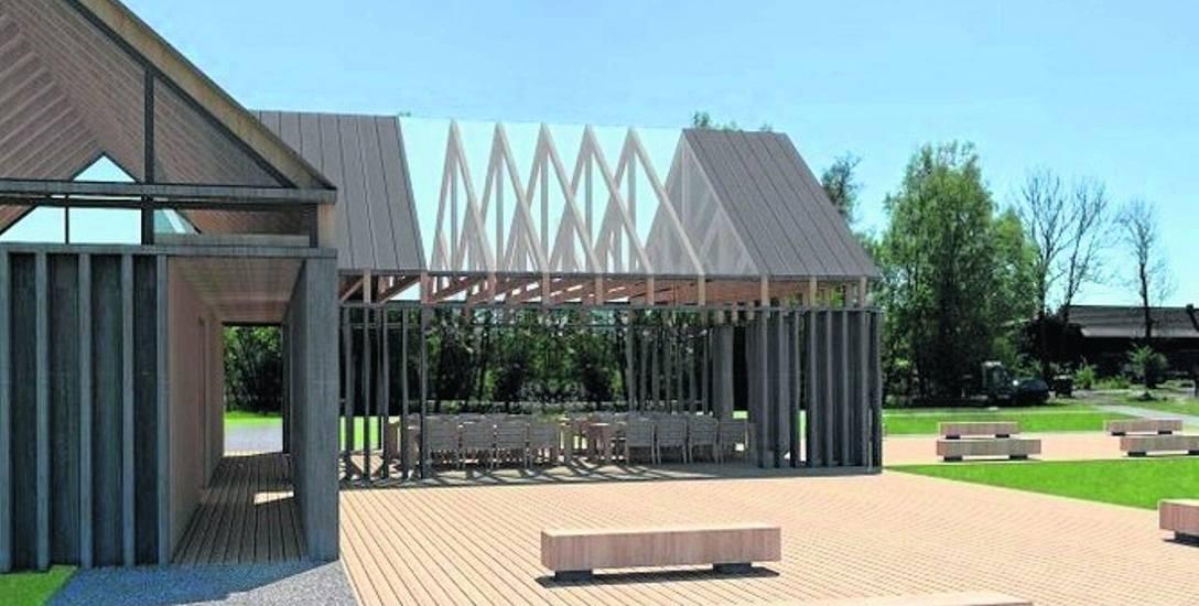 Wizualizacja Ośrodka  Sportów Wodnych na terenie gminy Postomino. Powstaną m.in. nowe wiaty i ścieżka przyrodnicza