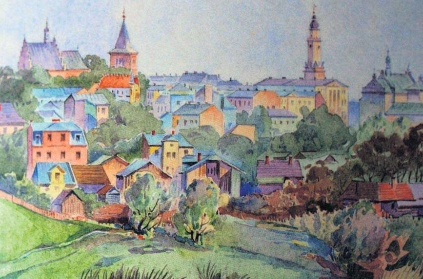 Widok Drohobycza z roku 1933 na akwareli Feliksa Lachowicza
