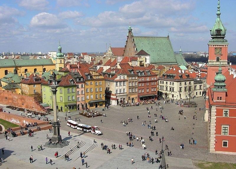 Plac Zamkowy w Warszawie widziany z wieży kościoła św. Anny