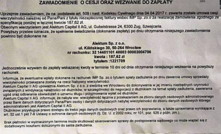 Takie listy rozsyła wrocławska firma windykacyjna m.in. do mieszkańców Podkarpacia. Jeżeli jesteśmy pewni, że nikomu nie zalegamy, należy go zignorować