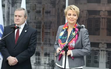 Łódź, 5 kwietnia 2017. Hanna Zdanowska i Piotr Gliński podczas wizyty w Łodzi delegacji Miedzynarodowego Biura Wystaw Expo