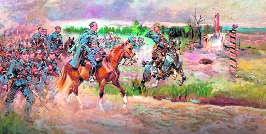 Wkroczenie strzelców do Królestwa Polskiego, obraz Jerzego Kossaka