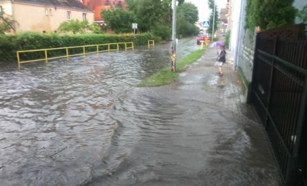 Skutki gwałtownej ulewy w Szczecinku.
