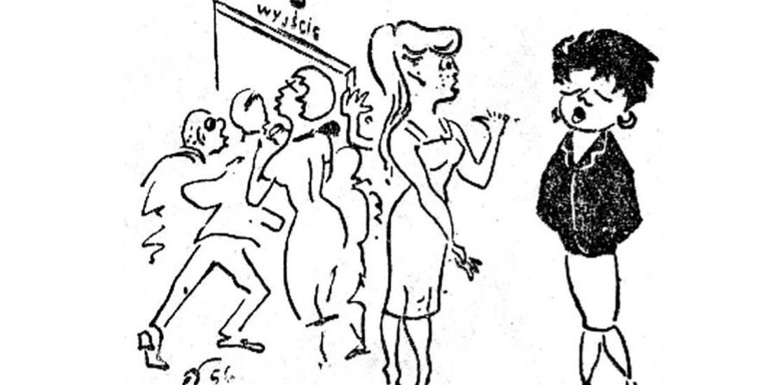 Satyryczny rysunek z Gazety Białostockiej, 1956 rok