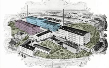 Fabryka Hoffmana na początku XX wieku. Rysunek z 1908 r. Ocalałe budynki zaznaczyliśmy kolorem. Dawne ogrody zaznaczone są na zielono.