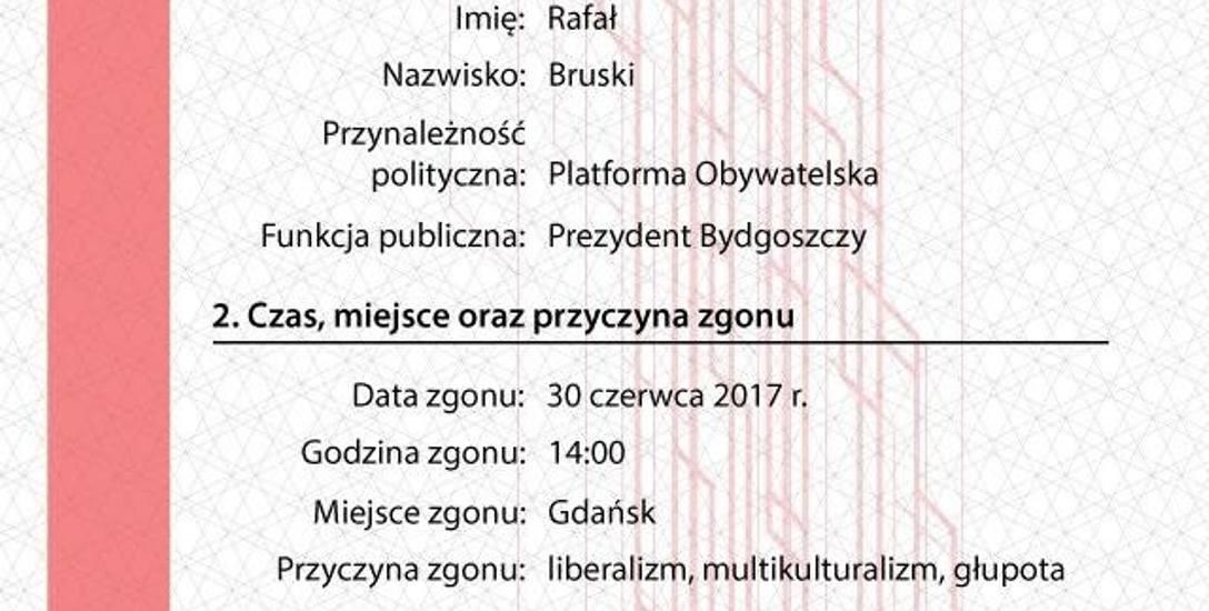Jeden z aktów zgonu wystawionych przez Młodzież Wszechpolską - ten dotyczy prezydenta Bydgoszczy.