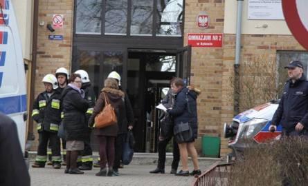 Ewakuacja szkoły w Bytowie
