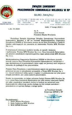 Jest wniosek o odwołanie prezesa MPK we Wrocławiu. Skandaliczna wypowiedź nigdy nie powinna mieć miejsca