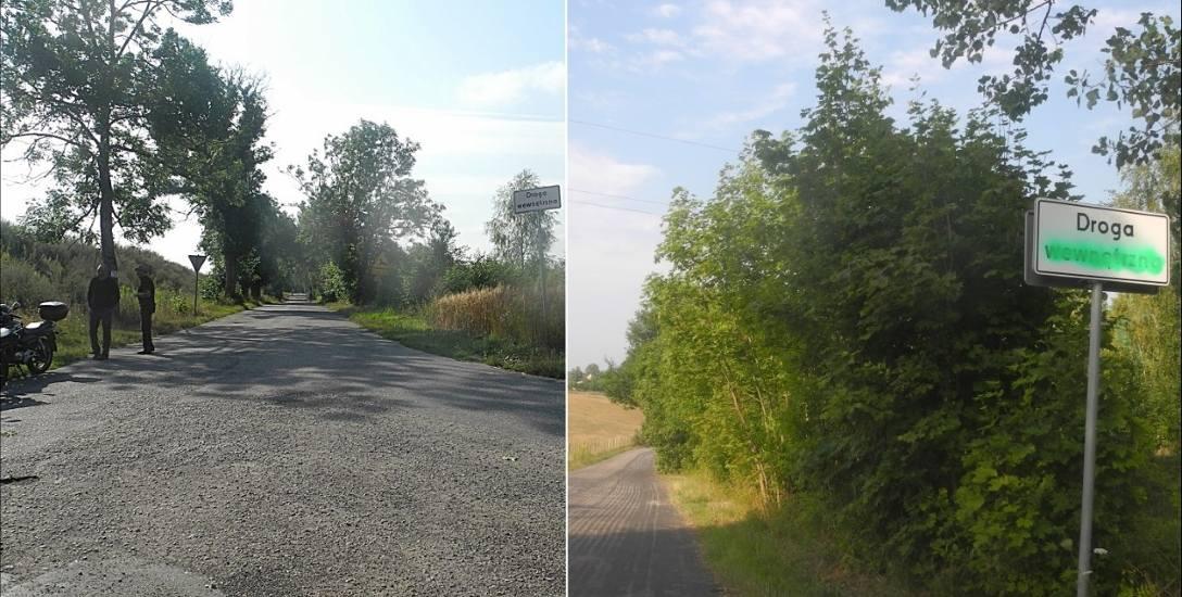 Z lewej około 4-kilometrowa, zniszczona droga do Studnicy. Z prawej droga do Ściennego. Obie mają status dróg wewnętrznych