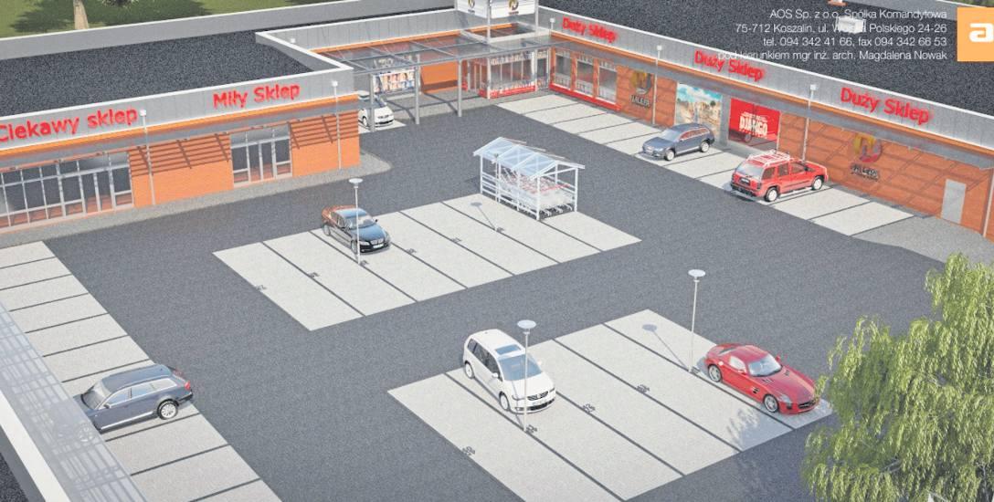 Wizualizacja przedstawia parking i galerię handlową, której budowa ma  ruszyć za dwa miesiące