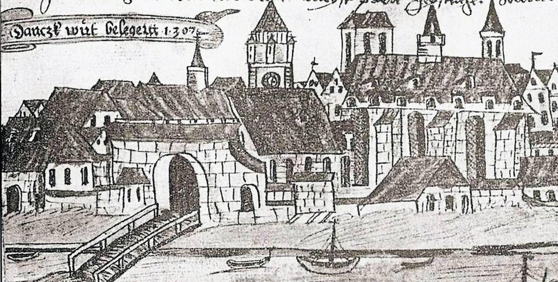 """Brama Kogi według rysunku z """"Kroniki Prus"""" Henryka Redena z 1553 roku"""