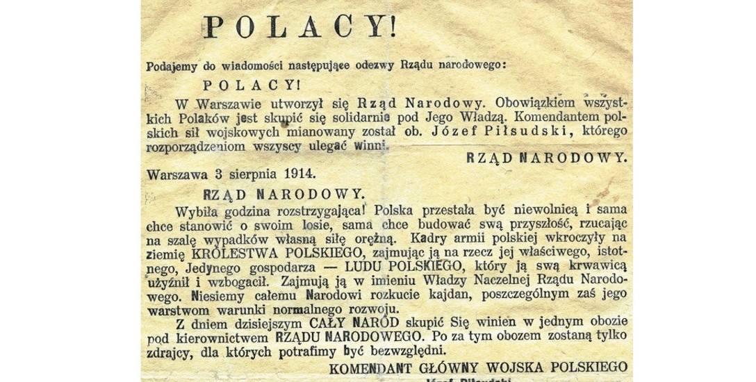 Odezwa Rządu Narodowego i Tymczasowej Komisji Skonfederowanych Stronnictw Niepodległościowych wzywająca do walki z zaborcą rosyjskim, 3 sierpnia 1914