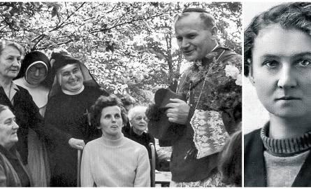 Spotkanie kard. Wojtyły z chorymi. Hanna Chrzanowska stoi pierwsza z lewej. Na mniejszej fotografii Hanna w młodości