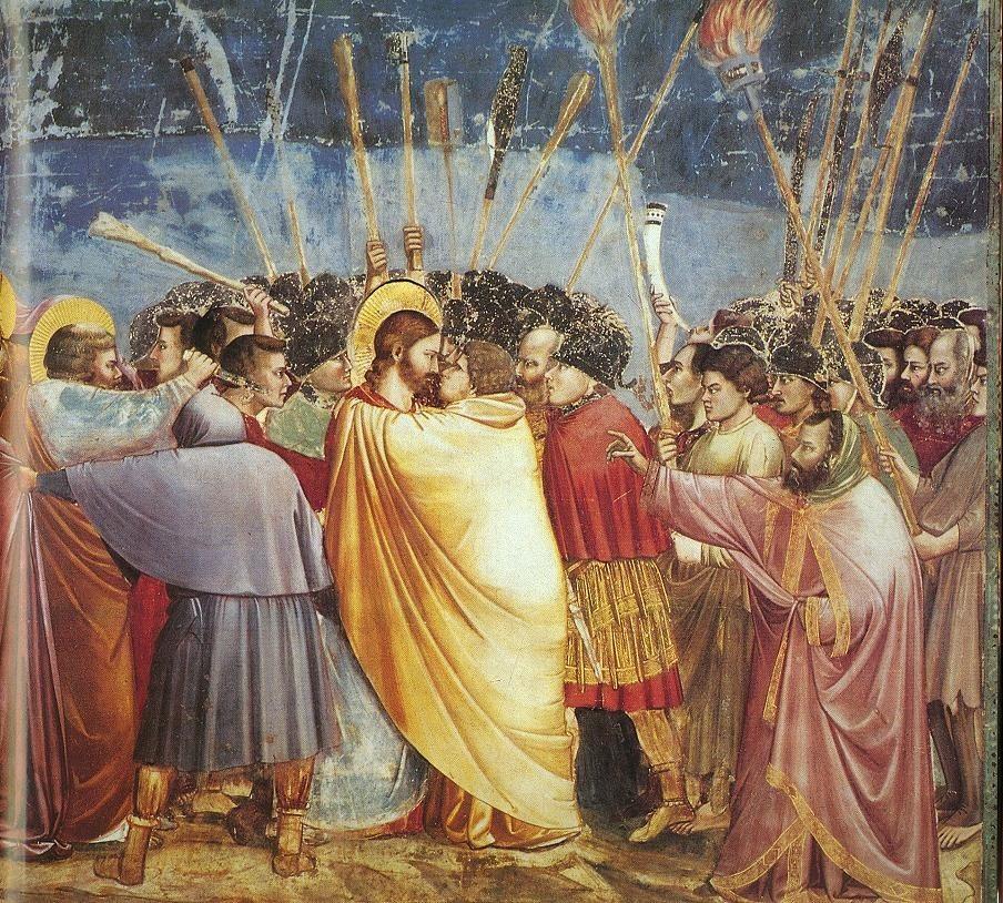 Pocałunek Judasza. Fresk Giotta z kaplicy Scrovegnich w Padwie