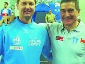 Trener Marcin Bożek (od lewej)