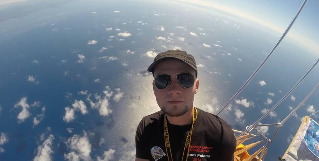 Mateusz Rękas podczas lotu