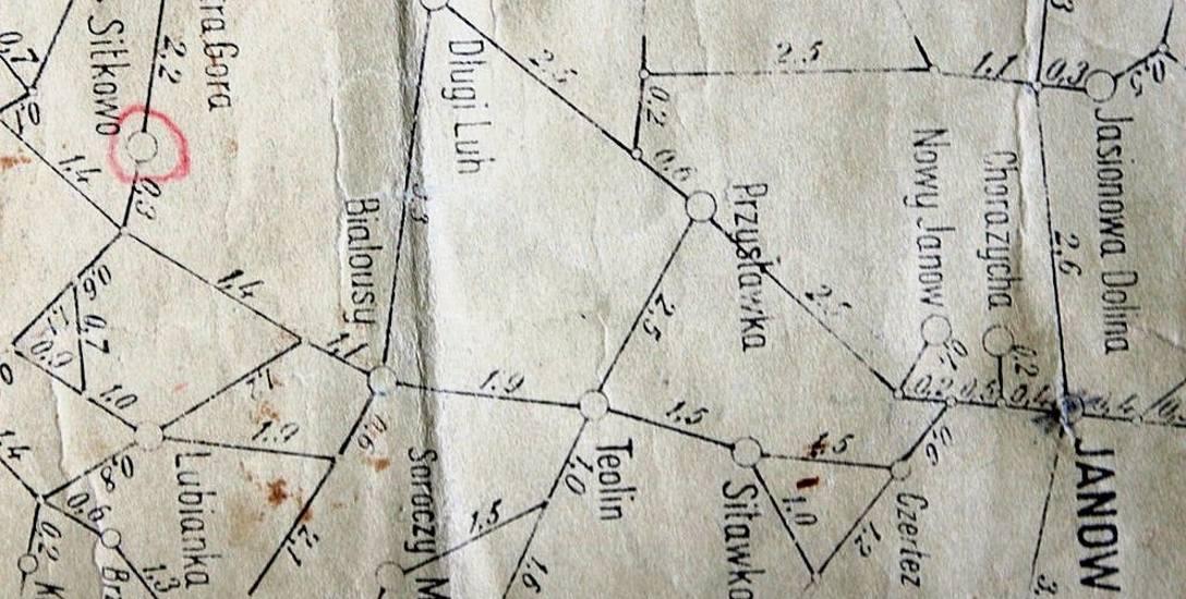 Fragment oryginalnej mapy niemieckiej pow. sokólskiego z 1943 r. z zaznaczonymi odległościami (ze zbiorów własnych)