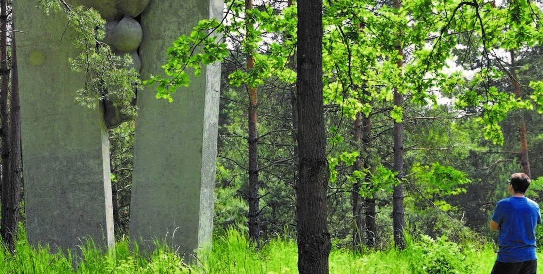 """Na wjeździe do miasta od strony Cigacic znajduje się monument """"Grono"""" Magdaleny Więcek, który powstał w ramach Zielonogórskich Spotkań Rzeźbiarskich."""