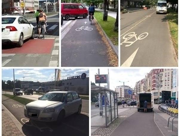 Biały furgon na drodze dla rowerów. We Wrocławiu to standard