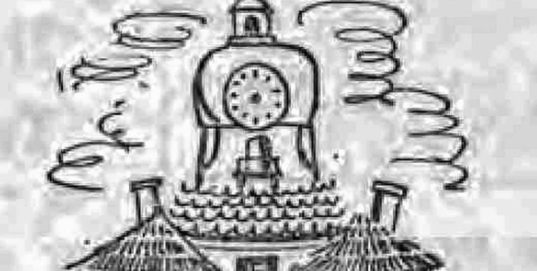Humorystyczny rysunek ratusza. Ilustracja z kolumny satyrycznej Gazety Białostockiej - Szerszeń z 1958 roku.