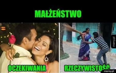 Nie ma to jak małżeństwo? Memy potrafią obedrzeć ze złudzeń każdego, kto tak myśli! Oczywiście, że mąż i żona to idealny duet – zupełnie jak ogień i