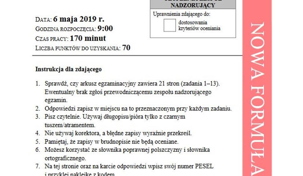 Film do artykułu: Egzamin maturalny z języka polskiego 2019 - poziom podstawowy, arkusze CKE [pytania i odpowiedzi]