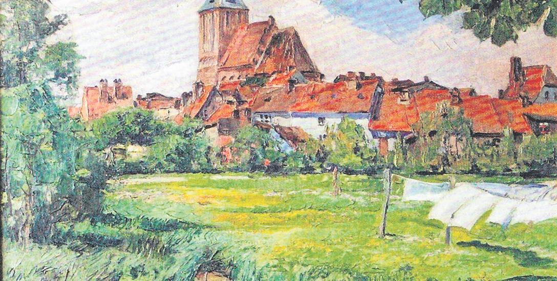 Autor pracy Hugo Walzer. Na zdjęciu Kościół Mariacki, olej, obraz przygotowany w  1920 roku