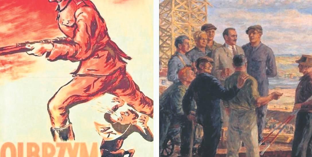 """Inny znany plakat Zakrzewskiego, """"Towarzysz Bierut wśród robotników"""", nie przebił jednak """"Olbrzyma i karła"""""""