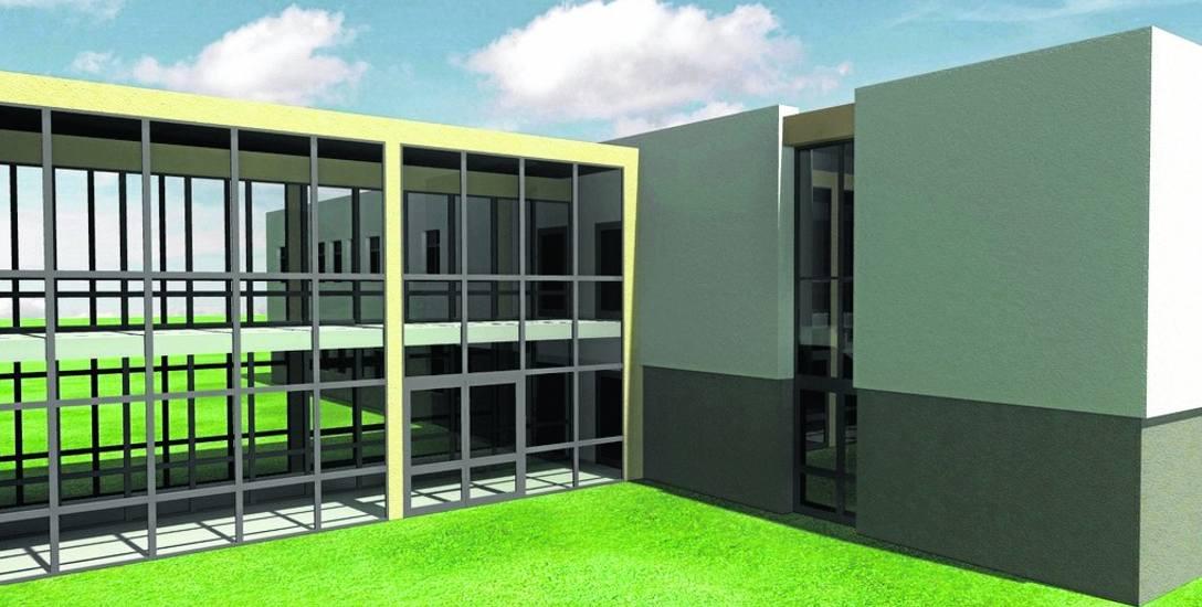 Wizualizacja rozbudowy kołobrzeskiego szpitala. Gdy inwestycja się zakończy, w nowej części znajdą się szpitalna izba przyjęć i Centrum Diagnostyczno