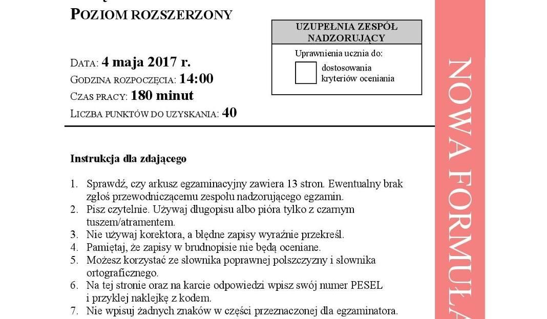 Matura 2017 Język Polski Rozszerzony Odpowiedzi Arkusz